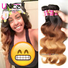 UNice Brazilian Body Wave Human Hair 3 Bundles Ombre Three Tone Hair Extensions