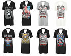 New Womens Ladies Short Sleeve Printed Choker T-Shirt Dress UK Sizes 8 - 14
