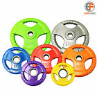 "TRI GRIP OLYMPIC WEIGHT PLATES DISCS GYM BARBELL RUBBER ENCASED 2"" HOLE"
