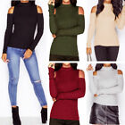 NEU Damen Blusen Schulterfrei Jumpers Pullover Top Langarm Party Hemd Shirts