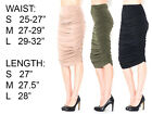 WOMENS CASUAL STRETCH RUCHED MIDI KNEE LENGTH BODYCON PENCIL CASUAL MINI SKIRT