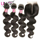 UNice Peruvian Body Wave Human Hair 3 Bundles With Lace Closure Hair Extensions