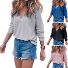 Fashion Women Casual V-Neck Long Sleeve T Shirt Loose Tops Blouse Ladies Tee NEW