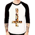 Inverted Cross-CAT#2 kitten goth punk Baseball t-shirt 3/4 sleeve Raglan Tee