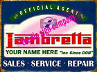 Lambretta Sign SALES-SERVICE-REPAIR. Your name, DOB etc. Great gift for any MOD