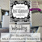 DIY Just Married Milk Chocolate Square Neapolitans Silver Foil Favours Gifts