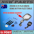 iPhone 6 & 6 Plus Home Button Flex Cable Assembly WHITE With Rubber Gasket OEM