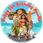 Disneys Moana circle shaped icing sheet cake topper with personalisation option