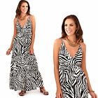 Pistachio Womens Zebra Animal Print Strappy Plunge V Neck Summer Maxi Dress