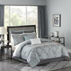 Luxury 12pc Blue & Grey Jacquard Woven Comforter Set AND Sheet Set