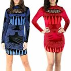 Womens Ladies Glitter Beads Velvet Velor Cut Out Polo Neck Bodycon Mini Dress