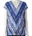 NWT Dana Buchman Textured V-Neck Blue Crush Print Top Women Sizes S, M, L