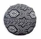 AL252n White Black Geometric Cotton Canvas Round Cushion Cover Custom Size