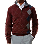 NWT Haggar Classic Fit 1/4-Zip Burgundy Plaid Argyle Sweater Men's Size XL, XXL