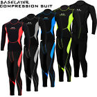 Men Compression Suit Activewear Sports Cycling Base Layer Tights Under Shirt Set