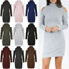 Women Marl Knitted Mini Dress Lades High Turtle Neck Cold Shoulder Tunic Bodycon