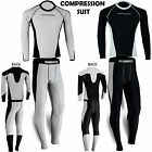 Mens Compression Thermal Base Layer Tights Shirt Under Suit Pant Activewear 2 Pc