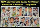 "1991 Legends Postcards _ Second Series _ 3.5"" x 5.5"" _ Numbers 1 - 15 Plus SETS"