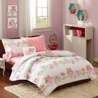 Girls Whimsical Flowers & Owls Comforter Set with Pink Sh...