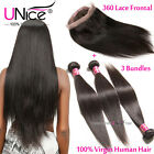 UNice 8A Brazilian Virgin Hair Straight 3 Bundles With 360 Lace Frontal Closure