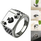 Men's Stainless Steel Ring Gothic Black Heart Poker Playing Card Band Ring