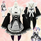 New Anime Re:Zero kara Hajimeru Isekai Seikatsu Ram Rem Twins Maid Cosplay Dress
