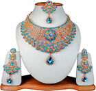 Jewelry Indian Celebrity Zircon Gold Plated Necklaces Earrings Turquoise Sets