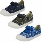 Clarks Boys Doodles Halcy High Rip Tape Strap Canvas Pumps