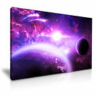 SPACE Violet Planets and Moon Canvas Wall Art Picture Print ~ More Size