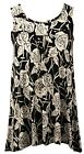 WOMENS LADIES PRINTED HANKY HEM FLARED SWING TUNIC VEST TOP PLUS SIZE 12 - 26