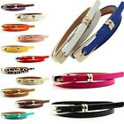 Multicolor Buckle Leather Lady Decoration Narrow Girl Belt Skinny Waist Thin