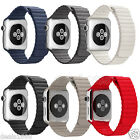Milanese Magnetic Stainless Steel Leather Loop iWatch Strap For Apple Watch Band
