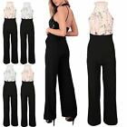 Ladies Floral Pattern Embellished Embroidered Playsuit Women All in One Jumpsuit