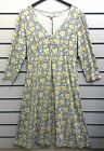 %SALE% MUDD & WATER ORGANIC COTTON GREY YELLOW 3/4 SLEEVED DRESS WITH TIES BNWT