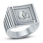 Platinuam Plated in White Sim Diamond  Men's Spacial Lucky Double Horse Ring