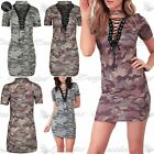 Ladies Womens Army Camoflauge Plunge Lace Up Detail Tunic Bandage Bodycon Dress
