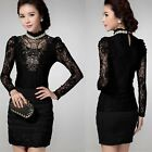 Classic Women Slim Lace Sexy Long Sleeve Pure Color Vintage Black Casual Blouse