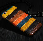 Genuine Real Cow Leather Crocodile Stripe Cover Case For Apple iPhone 5 6S Plus