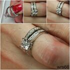 WOMENS NEW STERLING SILVER 925 HYPOALLERGENIC ENGAGEMENT RING WEDDING RING SET