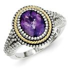 Sterling Silver w/ 14k Yellow Gold Amethyst Vintage Ring. Metal Wt- 7.03g