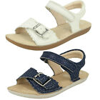 Girls Clarks Ivy Blossom Inf/Jnr White Leather Air Spring FX Sandals