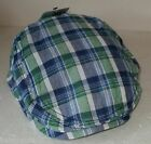 BOYS FLAT CAP YOUNG BOY 100% COTTON BLUE GREEN CHECK 56CM 8/13 YEARS
