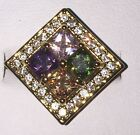 NEW 10Kt  Authentic Yellow Gold Plated Square Cut Colourful Cubic Zircon Ring