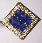 Stunning 10Kt  Yellow Gold Plated Square Cut Blue Crystal Cubic Zircon Ring