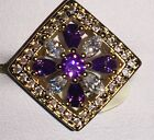 Authentic 9Ct Yellow Gold Plated Square Purple Crystal Statement Ring UK Stock