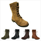 Brand New Women's Fashion Military Lace Up Knit Ankle Cuff Low Heel Combat Boots