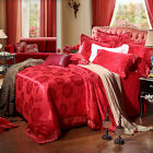 Red New Free ship Rose Queen/King Combed Cotton 4pc duvet cover set/bedding set