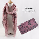 Vintage Bicycle Print Scarf Super Soft Light Weight Wrap Shawl for Women 1 PC