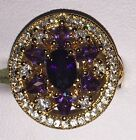 Beautiful 9kt Yellow Gold Plated Purple Round Set Crystal Zirconia Cocktail Ring