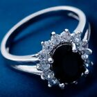 White Gold Filled Black Cubic Zirconia Vintage Style Sunflower Ring - Jewellery